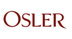 """Osler"" is written in burgundy text"