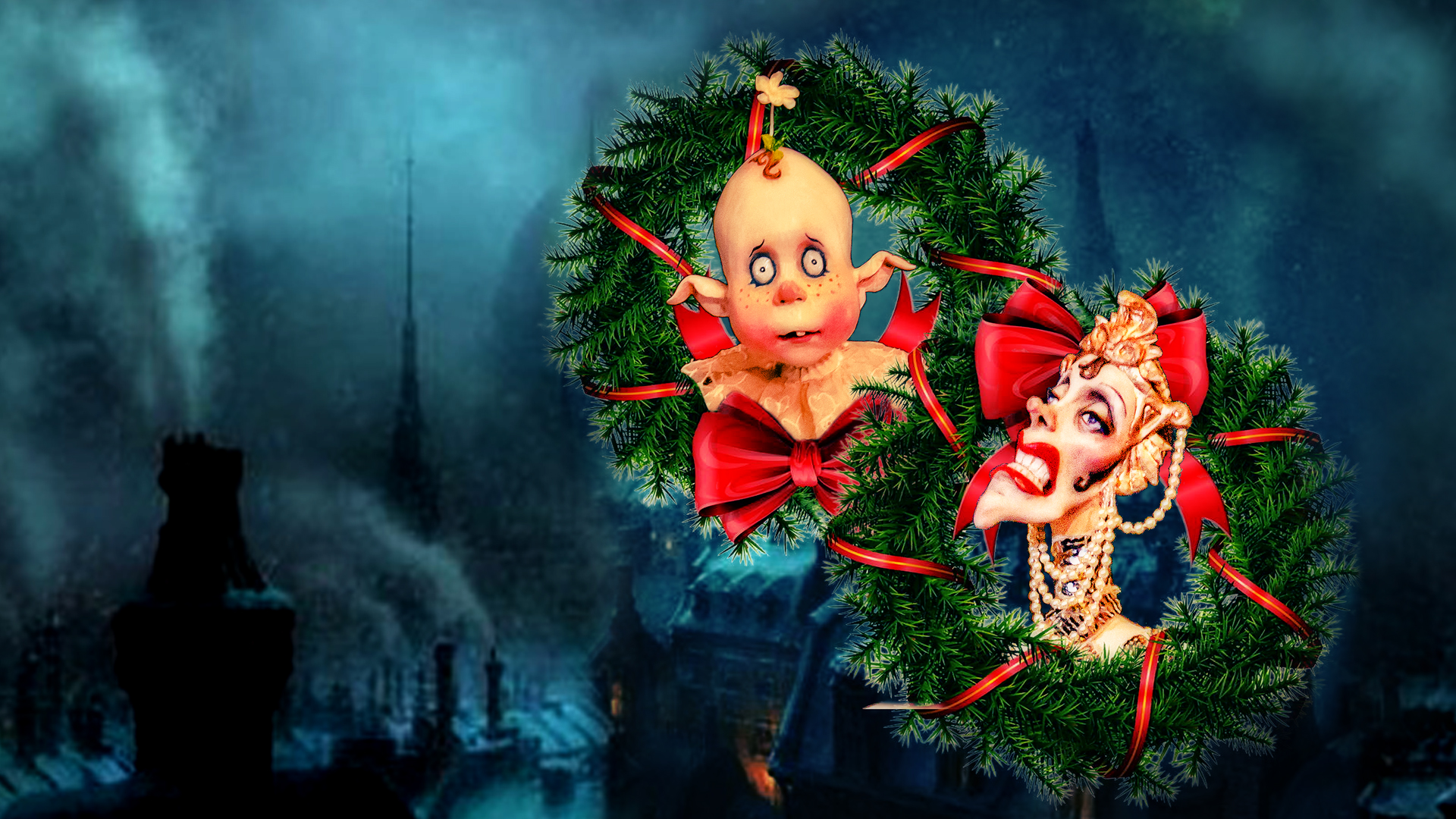 Little Dickens Visual with marionnette faces in wreaths