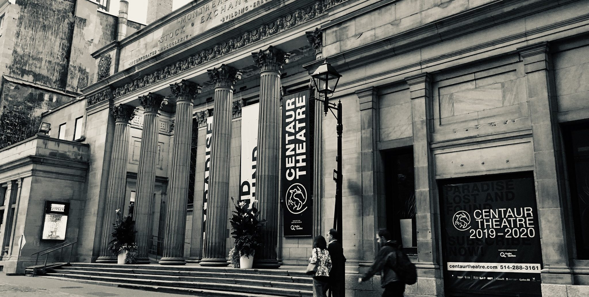 Centaur Theatre facade in black and white