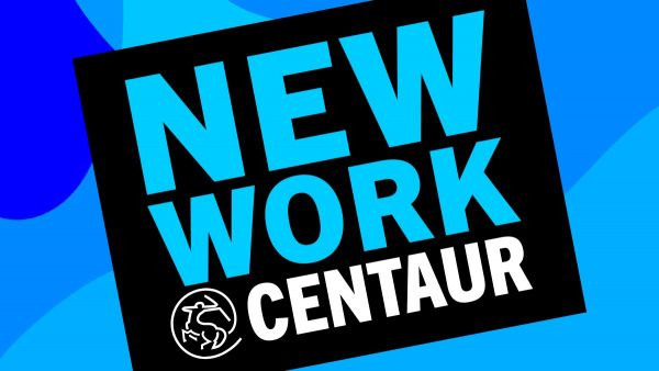 A blue graphic cards reads New Work at Centaur