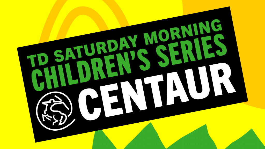 """Image card using text and swirl graphics in green and yellow reads """"TD Saturday Morning  Childrens Series"""""""