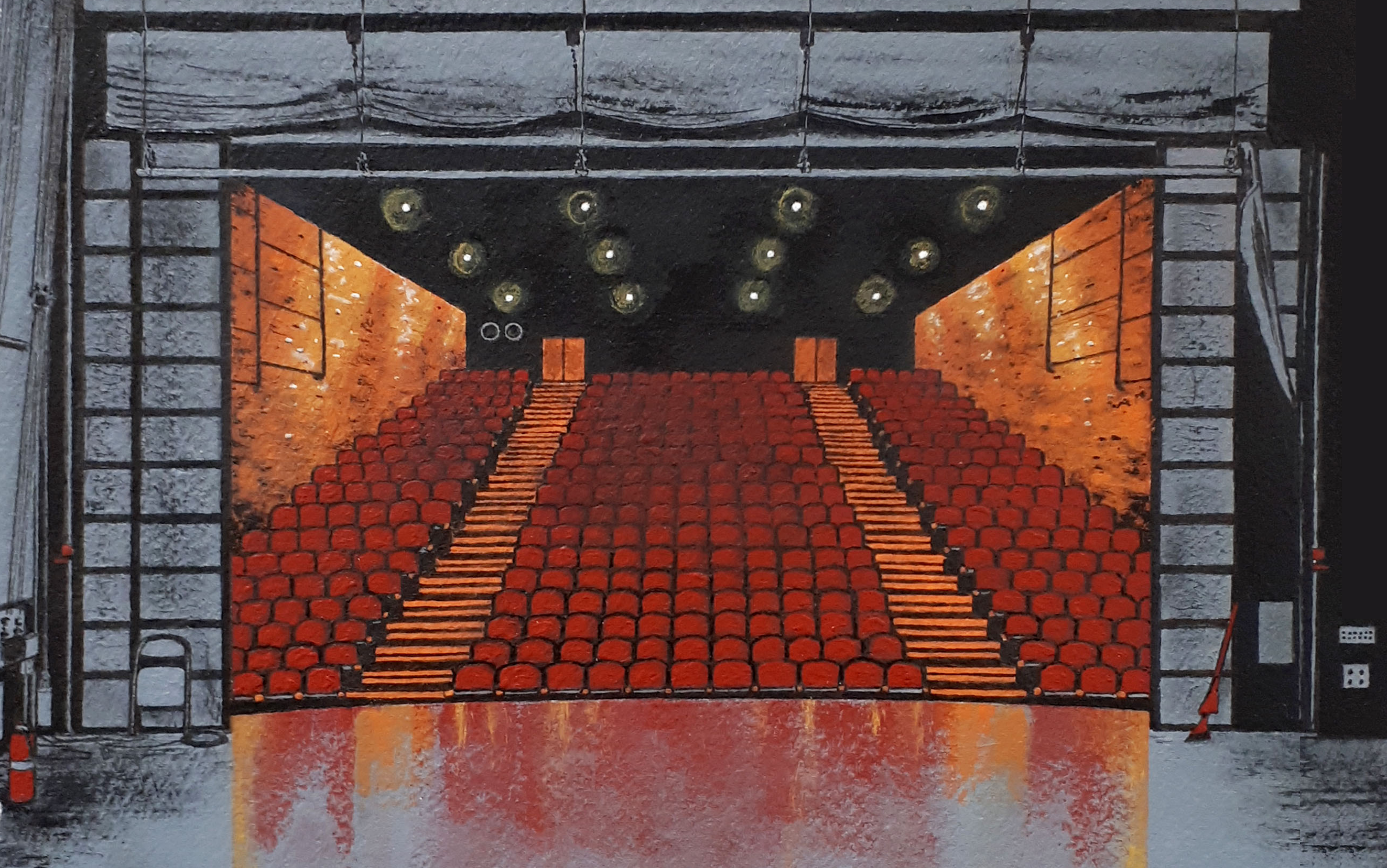 Illustration of an empty theatre from the perspective of standing on stage. THe seats are red and the stage is grey.