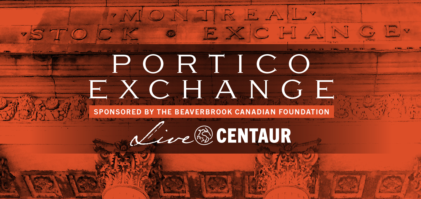 """image of the Centaur Theatre building with a red filter and text written: """"PORTICO EXCHANGE supported by the Beaverbrook Canadian Foundation, Live @ Centaur"""""""