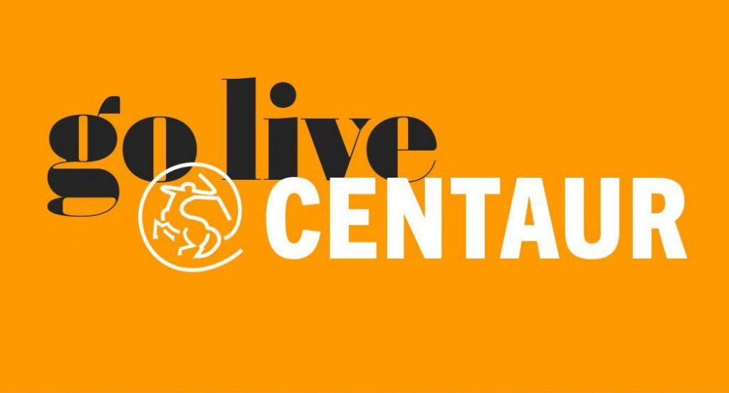 go live @ CENTAUR on orange background